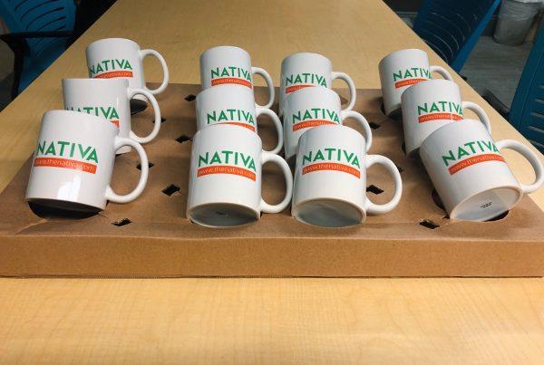 Nativa Coffee Mugs on a table