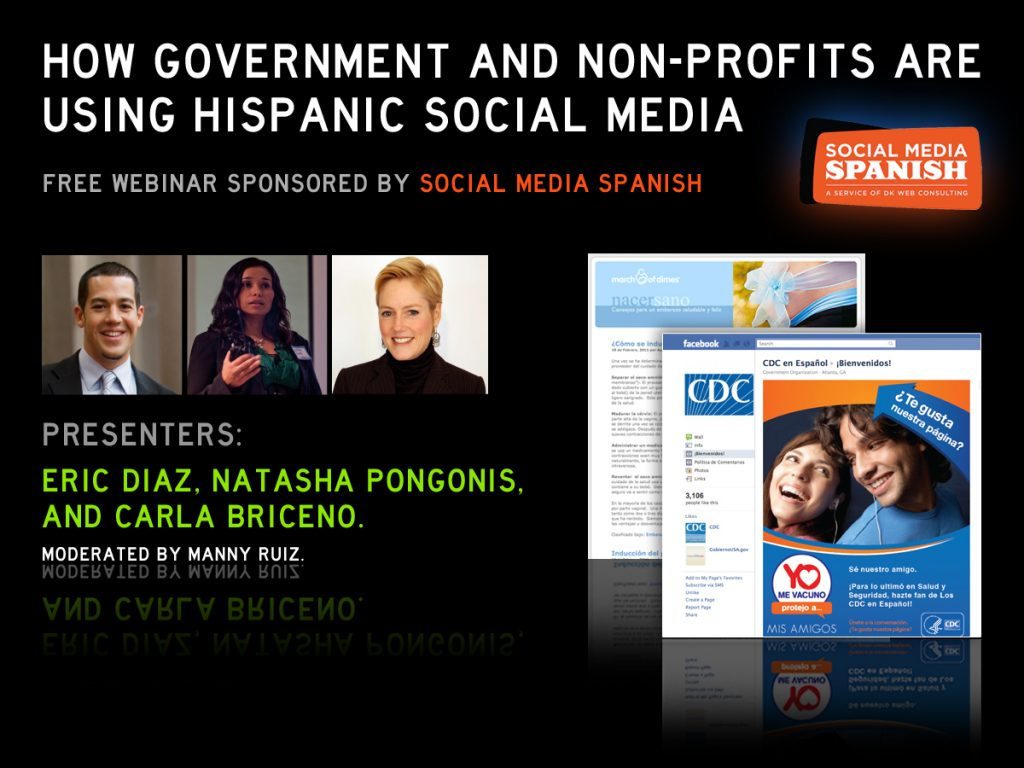 One of Nativa's and O.Y.E.'s early webinar advertisements for the CDC partnership which had only recently been acquired. Early on in our multicultural journey, Nativa was known as DK Web Consulting, and O.Y.E. as Social Media Spanish.
